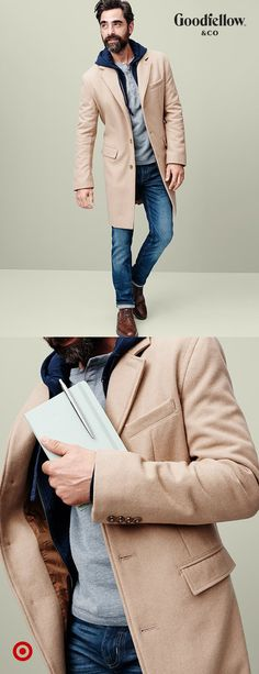 Workday meetings call for a cool Goodfellow & Co coat plus an equally stylish Moleskine notebook.