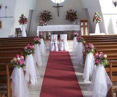 DIY Indoor Wedding Aisle Decorations for Church - Wedding Wedding Church Aisle, Wedding Pews, Wedding Stage, Wedding Chairs, Wedding Backdrops, Wedding Ceremonies, Ceremony Backdrop, Decor Wedding, Boho Wedding