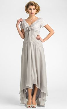 A-line V-neck Asymmetrical Lace And Chiffon Mother of the Bride Dress - AUD $ 120.38