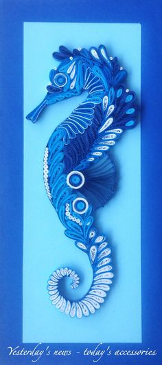 Quilled paper seahorse, 14 x 30 cm by Yesterday's news - today's accessories