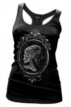 Inked Boutique - Lolita Racerback Tank Top Women's Victorian Skeleton Skull Cameo http://www.inkedboutique.com/