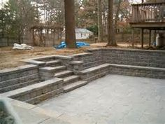 Dec 18 - All done. Patio block and retaining wall in place. Sunken Patio, Sunken Garden, Backyard Patio, Backyard Landscaping, Walkout Basement Patio, Basement Entrance, Basement Windows, Patio Blocks, Basement Makeover