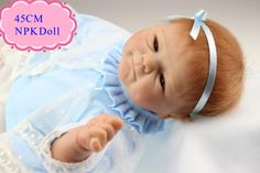 Good Price 45cm 18inch Reborn Baby Girl Doll With Light Blue Race Dress Fashion Brinquedo De Bebe For Kids As Christmas Doll Toy #Affiliate