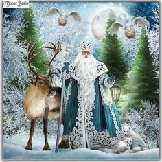 DIY Diamond Painting Blue Robe Father Christmas with Reindeer - craft kit : DIY Diamond painting. Blue Robe Father Christmas with Reindeer. Square drill, 6 kit sizes to pick from.
