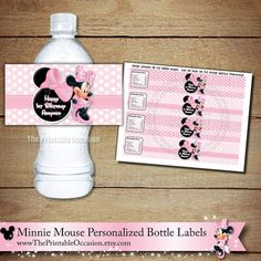 Light Pink Minnie Mouse Water Bottle Wrappers, Pink Polka Dot Water Bottle Labels, Pink Printable Minnie Mouse Bottle Wrappers, Printable