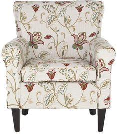 Safavieh Hazina Cotton/Linen Club Chair in White/Red Upholstered Dining Chairs, Dining Chair Set, Wingback Chair, Armchair, Chair Upholstery, Red Persian Rug, Accent Furniture, Blue Furniture, Toss Pillows