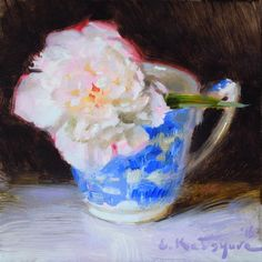 Red-Rimmed Peony by Elena Katsyura Oil ~ 6 in x 6 in Tea Cup Art, Fine Art Auctions, Painting Still Life, Fine Art Gallery, Artist Art, Flower Art, Art Flowers, Art For Sale, White Ceramics