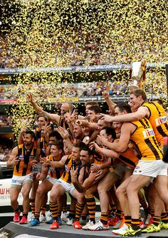 2015 Toyota AFL Grand Final - Hawthorn v West Coast - The Hawks celebrate on the dais