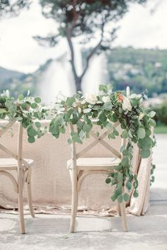 Table Setting Cream Blush Roses Greenery Flowers Decorated Chairs Champagne Sequin Tablecloth Water Fountain Trees Breathtaking Lake Como Wedding Ideas http://lillyred.it/