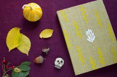 Handmade journal with herbal pattern, handmade notebook, sketchbook, homemade paper, gift ideas, halloween