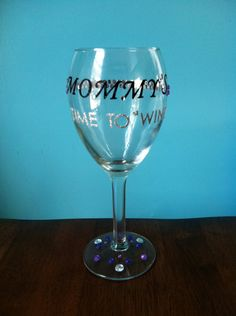 Good for a Baby Shower or a New Mom...     Purple Blingtastic Mommy's Time To Wine Glass by caitlincole1, $20.00