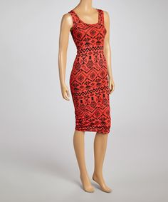 Look what I found on #zulily! Coral & Black Tribal Sleeveless Dress by La Class #zulilyfinds