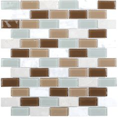 Elida Ceramica Pisa Glass Mixed Material (Stone and Glass) Mosaic Subway Indoor/Outdoor Wall Tile (Common: 12-in x 12-in; Actual: 10.75-in x 11.75-in)