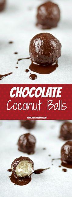 Chocolate Coconut Balls | WIN-WINFOOD.com just like little bite-sized pieces of the Bounty barminus the bad stuff. #vegan #healthy #glutenfree #soyfree #sugarfree #paleo friendly