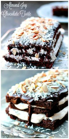 Almond Joy Chocolate Torte...chocolate cake with a whipping cream filling topped with a chocolate glaze and garnished with coconut and almonds. This torte is not only delicious but so very EASY to make!