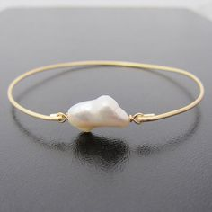Baroque Single Freshwater Pearl Gold Bangle Bracelet, Unique June Birthstone Jewelry Gift for Woman