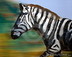 A painting of arunning  zebra against a blurred background