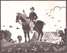 """Ethelbert White (1891-1972) """"The Gentleman Farmer"""" wood engraving, 1921. Signed, titled and numbered 7/50. 140 X 180 mm. Rare. Listed as """"Recorded, but untraced"""" in Hilary Chapman's catalogue raisonne on the artist."""