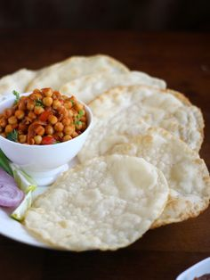 Channa - Puri. Deep Fried Bread & North Indian Style Curried Chickpeas