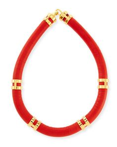 Y2CYN Lizzie Fortunato Leather Double-Take Necklace, Red/Gold