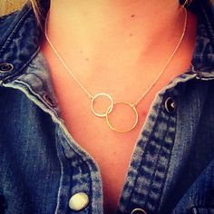 Love! Together Forever Necklace by Stella & Dot. Sterling silver and 14K gold vermeil circles intertwined.