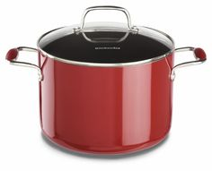 KitchenAid KCA80SCER Aluminum Nonstick 8.0-Quart Stockpot with Lid Cookware - Empire Red *** To view further, visit now : Steamers, Stock and Pasta Pots