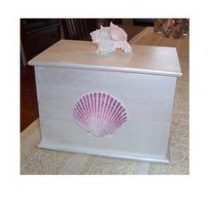 White Wood Box With Sea Shell Embelishments
