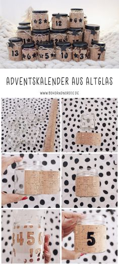 DIY Adventskalender aus Glas mit Friends of Glass. DI… DIY glass advent calendar with Friends of Glass. Simple craft idea for Christmas. Upcycling idea to imitate. Cute Diy Crafts, Upcycled Crafts, Crafts To Sell, Easy Crafts, Sell Diy, Decor Crafts, Tetra Pack, Diy Advent Calendar, Christmas Calendar