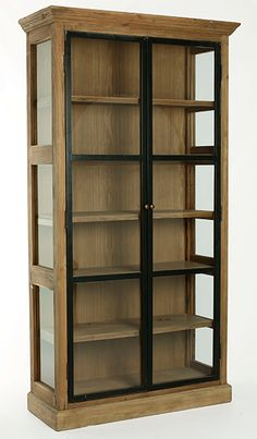 Curio Cabinet Decor, Crockery Cabinet, Cabinet Design, Iron Furniture, Furniture Plans, Home Furniture, Colourful Living Room, Bookcase Shelves, Wooden Kitchen