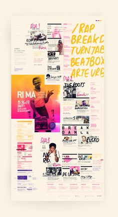 An interesting calendar layout for the shcedule of RIMA / Festival de hip hop alternativo that explores variations of picture and text size but still keeping everything on grid as the guide. Layout Design, Graphic Design Layouts, Print Layout, Graphic Design Typography, Design Web, Typography Images, Funky Design, Web Layout, Dm Poster