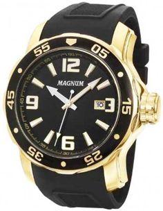 83b181ff683  Relógio de pulso masculino da Magnum MA31908U  RelógioMasculino dourado  com pulseira de borracha Relogio