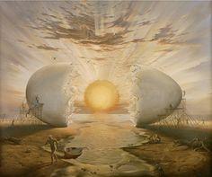 Sunrise by the Ocean - Surrealism by Vladimir Kush