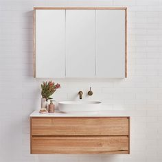 If you have a compact or cramped bathroom, adding a floating bathroom vanity takes up less space and still offers plenty of storage. Timber Bathroom Vanities, Timber Vanity, Bathroom Vanity Cabinets, Bathroom Shelves, Bathroom Faucets, Bathroom Storage, Boho Bathroom, Bathroom Trends, Bathroom Interior