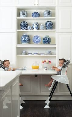kids nook/all white kitchen/blue & white