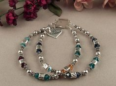 Sterling Silver  Mothers Bracelet Grandmothers by KrisTsCreations, $100.00