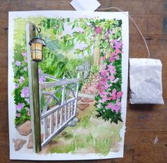 Step by step watercolor with masking fluid and tip for lantern light.