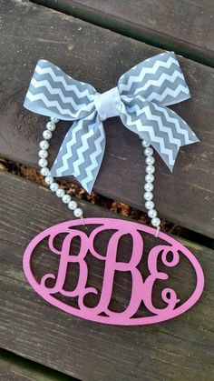 Monogram Rear View Mirror Charm Pearl by CraftyBellesEst2015  *savannah*