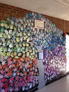 ***Paint Tree at end of year. cut paper for hands, Bird or sign with words. Creation Station: School-wide Mural (collaboration feeds my soul) Killam Family Tree Year two~ Each student traced his& hand and selected one color to decorate the hand with
