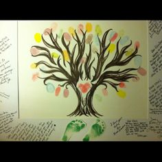 A great keepsake for the hospital!  Hand drawn tree with special place in the center for parent's fingerprints (shaped as a heart).  After, add baby's footprints at base of tree.  Border of picture for visitors to sign their names and give wishes to the newborn.