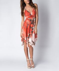 Look at this Paradise USA Fashion Pink Floral Empire-Waist Handkerchief Dress on #zulily today!