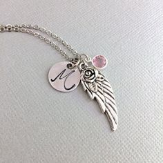 Personalized Angel Wing Necklace Initial Guardian Angel