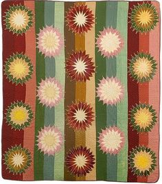 Mariners Compass Appliquéd & Pieced Quilt, ca 1878, wool and cotton, treadle and hand pieced, hand quilted.