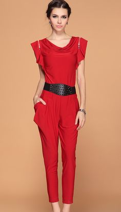 Red Ruffle Sleeve Draped Front Belt Jumpsuit.. website makes you reg w/email, but wasn't bad price less than $60.00