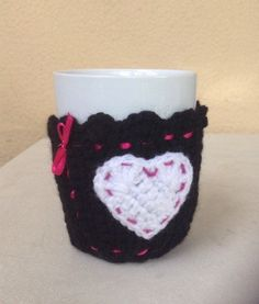Items similar to Crochet Mug Sweater,Cosy Mug Sweater , Mug Cozy ,Black & White with big heart and pink bow! on Etsy Knitting Accessories, Mugs, Trending Outfits, Unique Jewelry, Handmade Gifts, Crochet, Sweaters, Etsy, Vintage