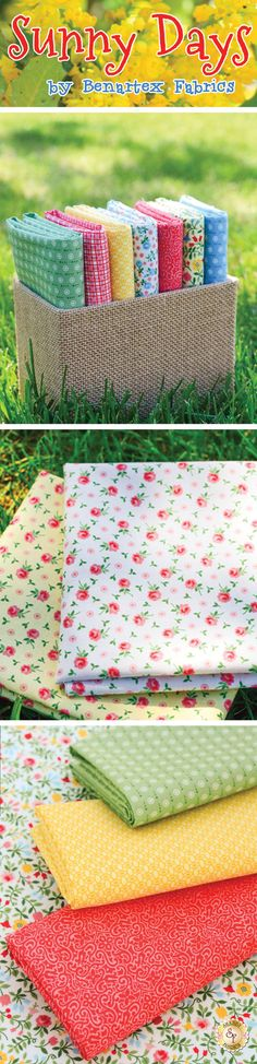 Sunny Days - Benartex Fabrics Sunny Days is a whimsical, vintage-inspired fabric collection that incorporates ginghams, tight-packed florals, and simple tonal patterns. The Sunny Bonnet Susie panel is a charming paper doll like panel that perfectly ties together the rest of this collection. Get inspired by this charming collection from Benartex Fabrics and create a classic quilt inspired by the images and colors of yesteryear.