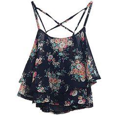 Choies Black Layer Floral Print Cross Back Cami Top