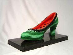 "Cláudio Tovar ""Shoe Works"" Watermelon Shoes, Watermelon Art, Edible Art, Contemporary Art, Carving, Heels, Macedonia, Cl, Veggies"
