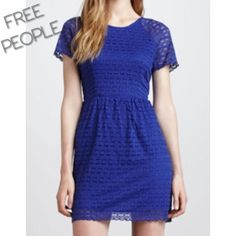 "Free People Candy Woven Lace Dress Free People Candy Woven Lace Dress. Size: 12 or Large. Length: 35"". Bust: 38"". Color: Cobalt blue. Condition: Great. Trendy, flirty summer dress. Free People Dresses Mini"