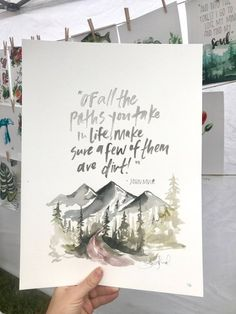 Of all the paths you take (John Muir print) Art Prints Quotes, Art Quotes, Quote Art, Watercolor Cards, Watercolor Paintings, Watercolors, John Muir Quotes, Christian Wallpaper, Art Inspo