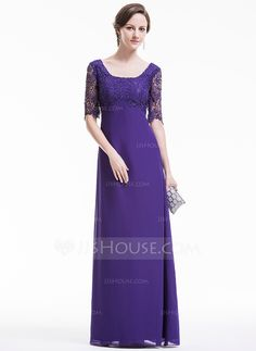 Sheath/Column Square Neckline Floor-Length Chiffon Lace Evening Dress With Beading Sequins (017074953)